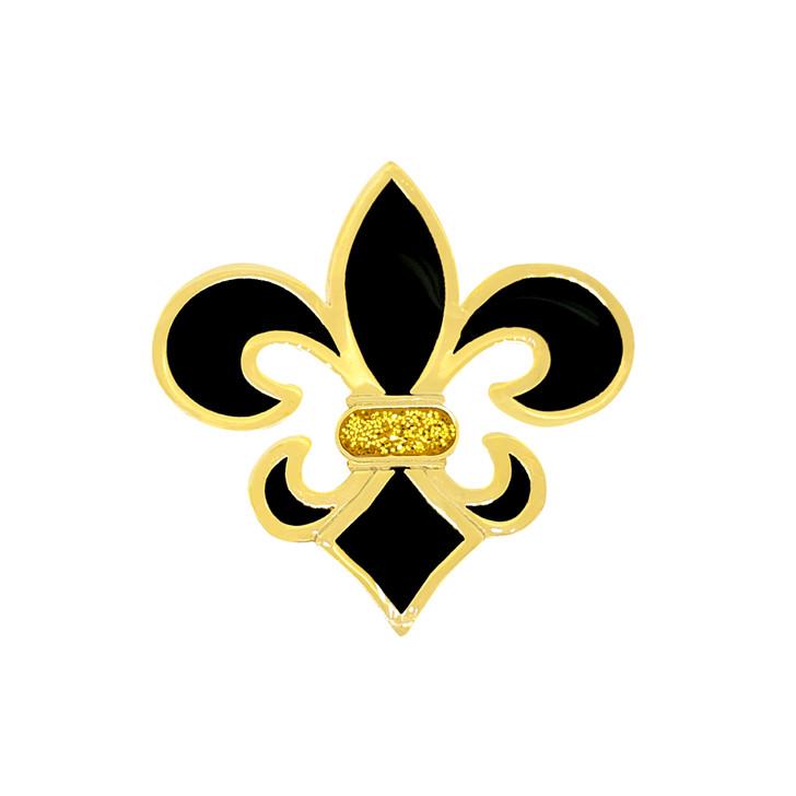 Fleur de Lis Black and Gold Glitzy Ball Marker with Hat Clip