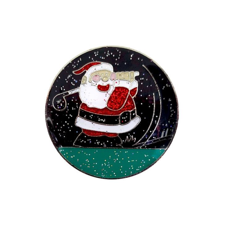 Christmas themed Glitzy Night Golfing Santa Ball Marker and Hat Clip