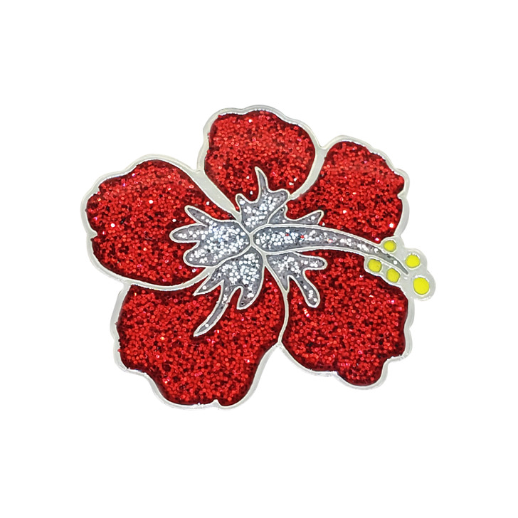 Hibiscus Glitzy Ball Marker with Hat Clip