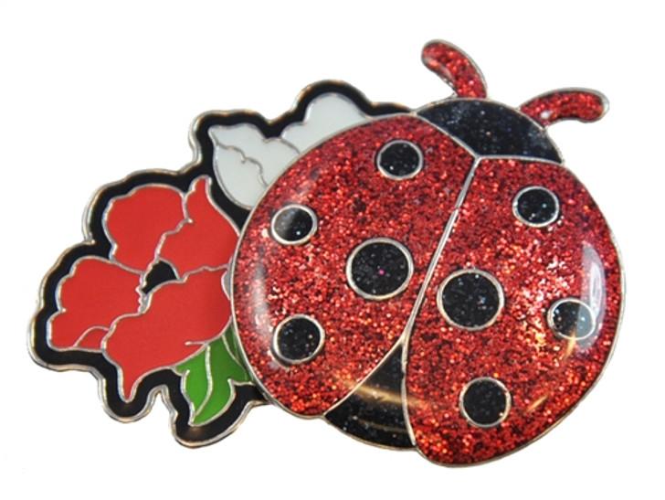 Ladybug Glitzy Ball Marker with Flower Hat Clip