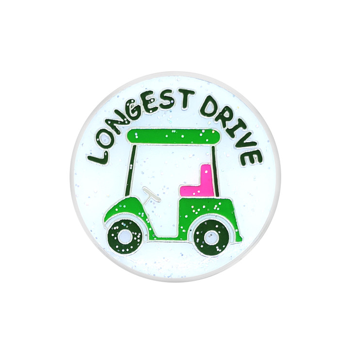 Longest Drive Glitzy Ball Marker with Hat Clip