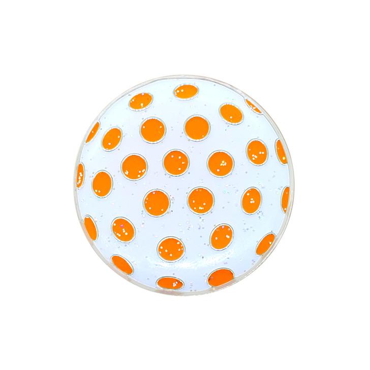 Polka Dot (White & Orange) Glitzy Ball Marker with Hat Clip