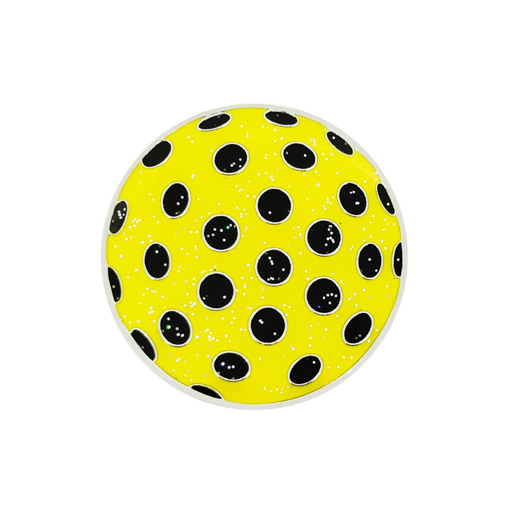 Polka Dot Yellow & Black Glitzy Ball Marker with Hat Clip