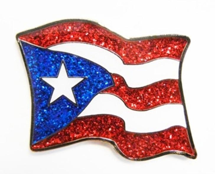 Puerto Rico Flag Glitzy Ball Marker with Hat Clip