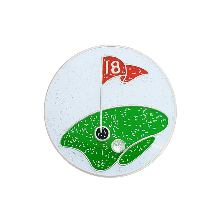 The Green Glitzy Ball Marker with Hat clip