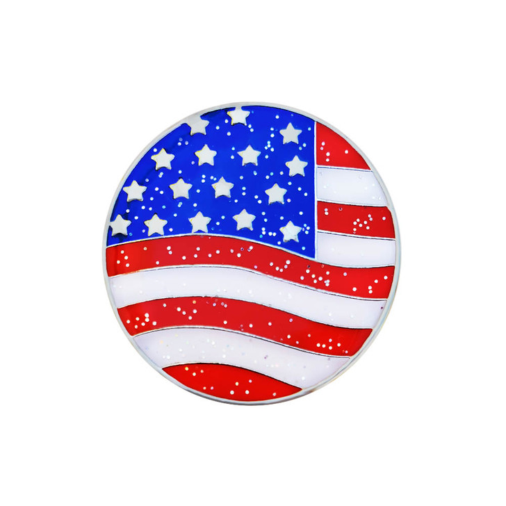 American Flag Glitzy Ball Marker with Hat Clip