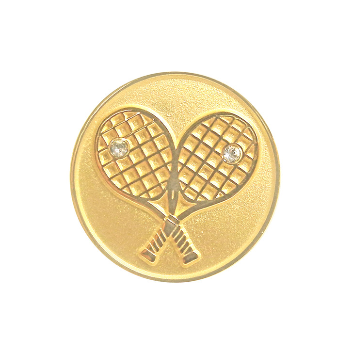 Gold Crossed Racquets Ball Marker and Hat Clip adorned with Crystals from Swarovski®