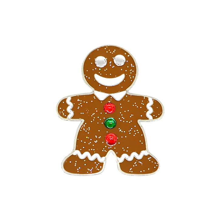 Christmas Gingerbread Man Glitzy Ball Marker adorned with Crystals from Swarovski® and Hat Clip