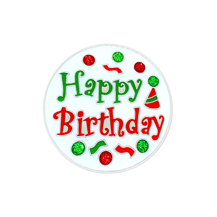 Happy Birthday Ball Marker and Hat Clip adorned with Crystals from Swarovski®