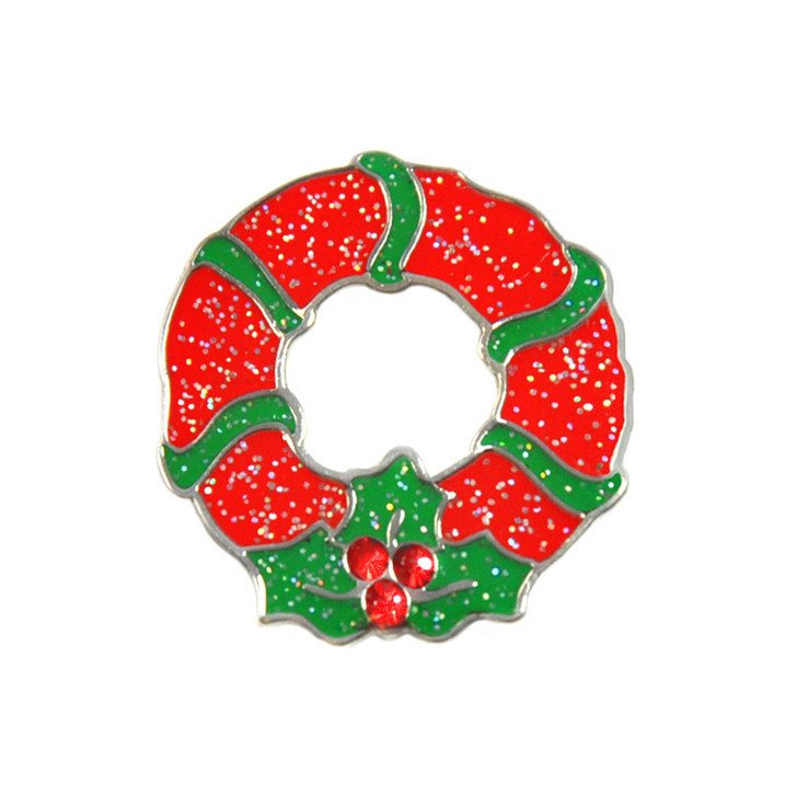 Christmas Wreath Glitzy Ball Marker adorned with Crystals from Swarovski®- and Hat Clip