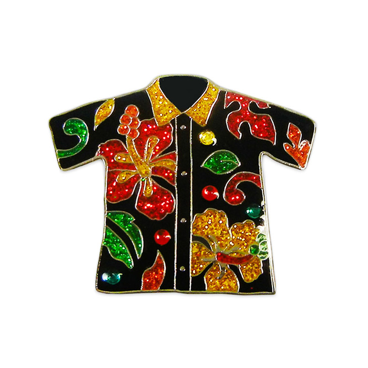 Aloha Shirt Ball Marker adorned with Crystals from Swarovski®- with Hat Clip