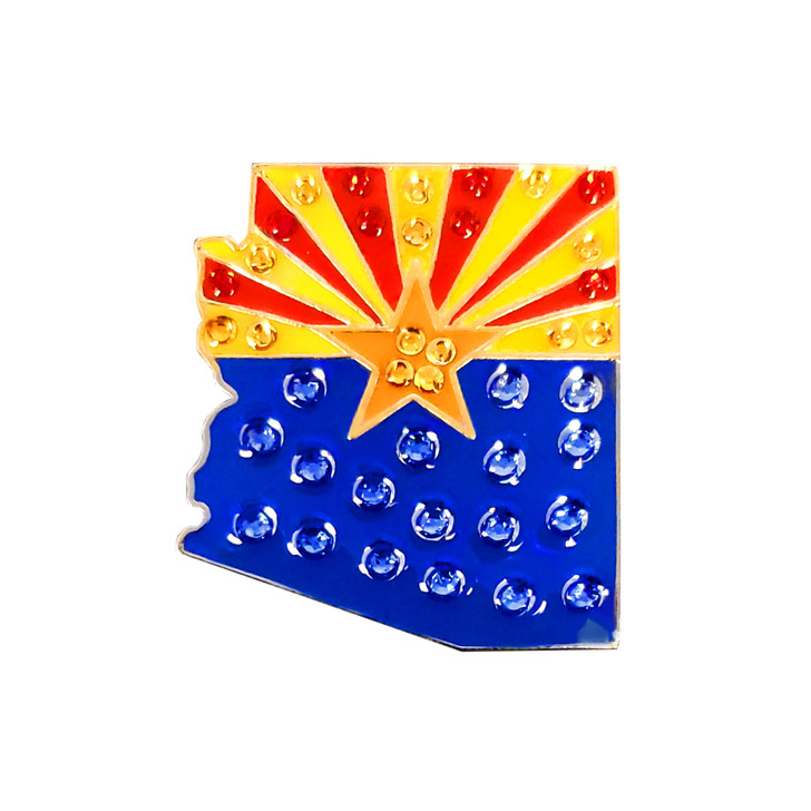 Arizona Flag Ball Marker adorned with Crystals from Swarovski®- with Hat Clip