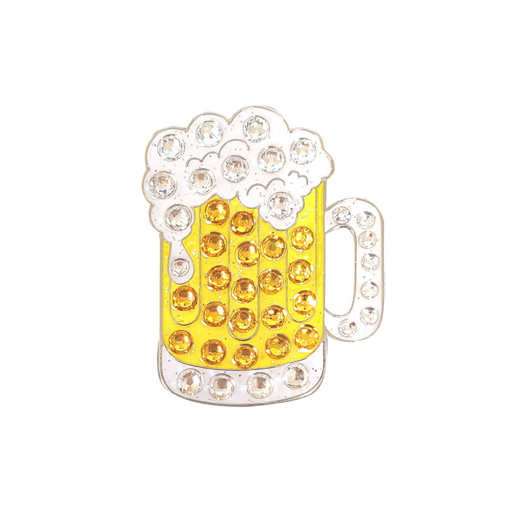 Beer Mug Glitz Ball Marker adorned with Crystals from Swarovski®- with Hat Clip