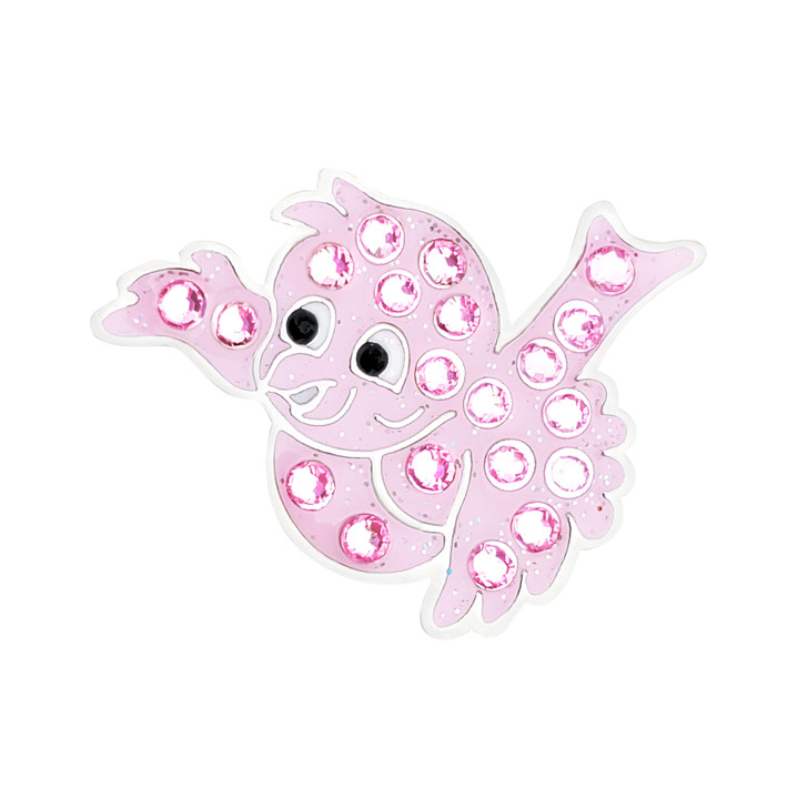 Birdie Pink Ball Marker adorned with Crystals from Swarovski®- with Hat Clip