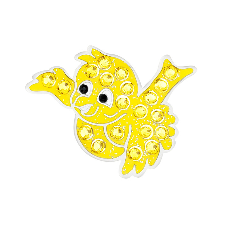Birdie Yellow Ball Marker adorned with Crystals from Swarovski®- with Hat Clip