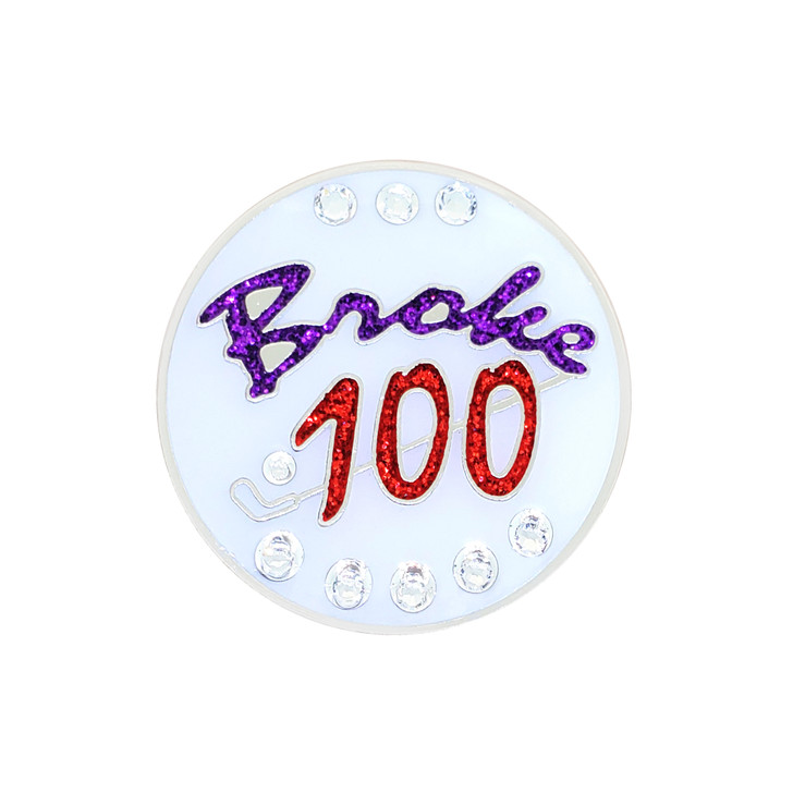 Broke 100 Ball Marker adorned with Crystals from Swarovski®- with Hat Clip