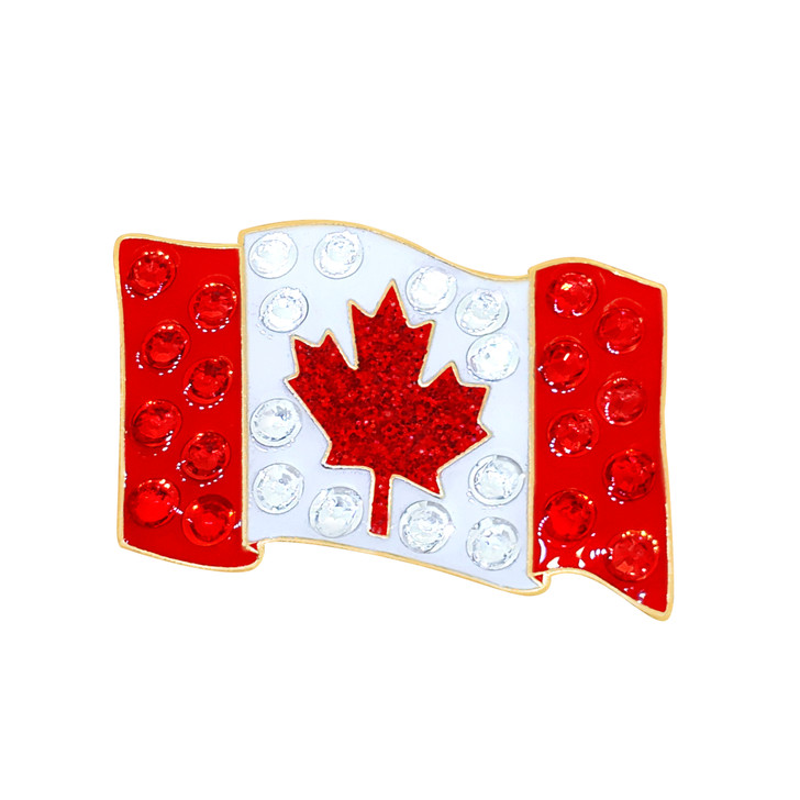 Canadian Flag Ball Marker adorned with Crystals from Swarovski®- with Hat Clip