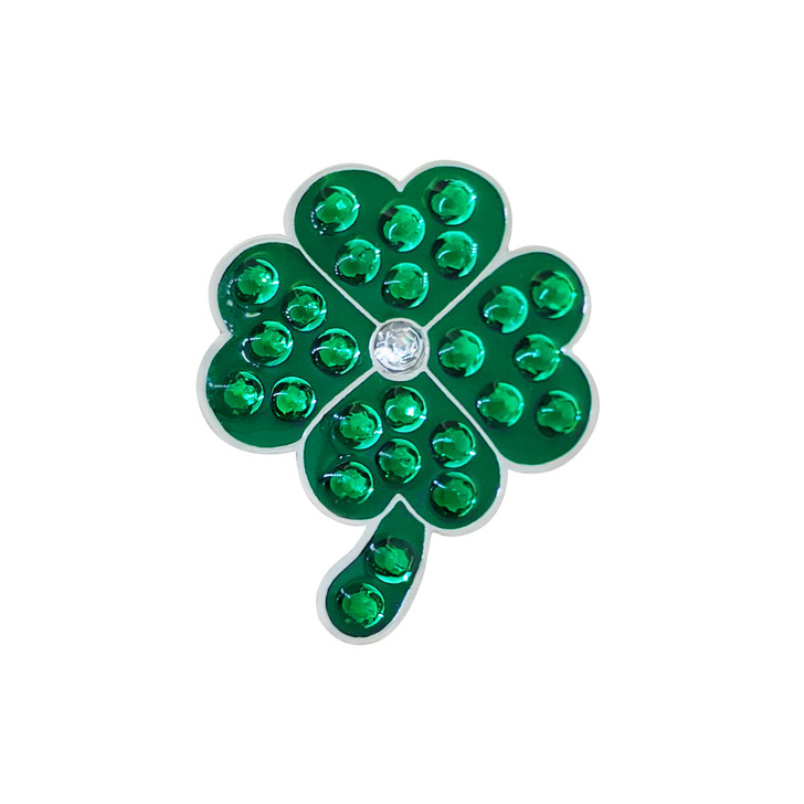 Good Luck 4-Leaf Clover Ball Marker adorned with Crystals from Swarovski®- with Hat Clip