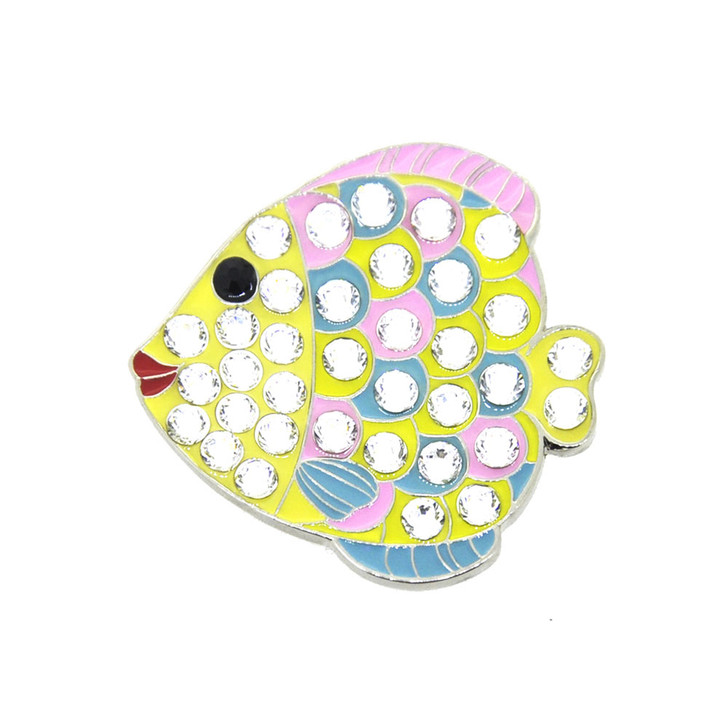 Fishy Ball Marker adorned with Crystals from Swarovski®- with Hat Clip