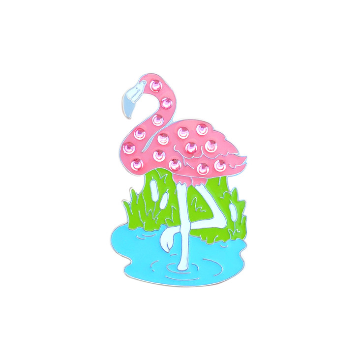 Flamingo Ball Marker adorned with Crystals from Swarovski®- with Hat Clip