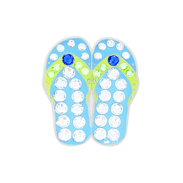 Flip Flop Blue Ball Marker adorned with Crystals from Swarovski®- with Hat Clip