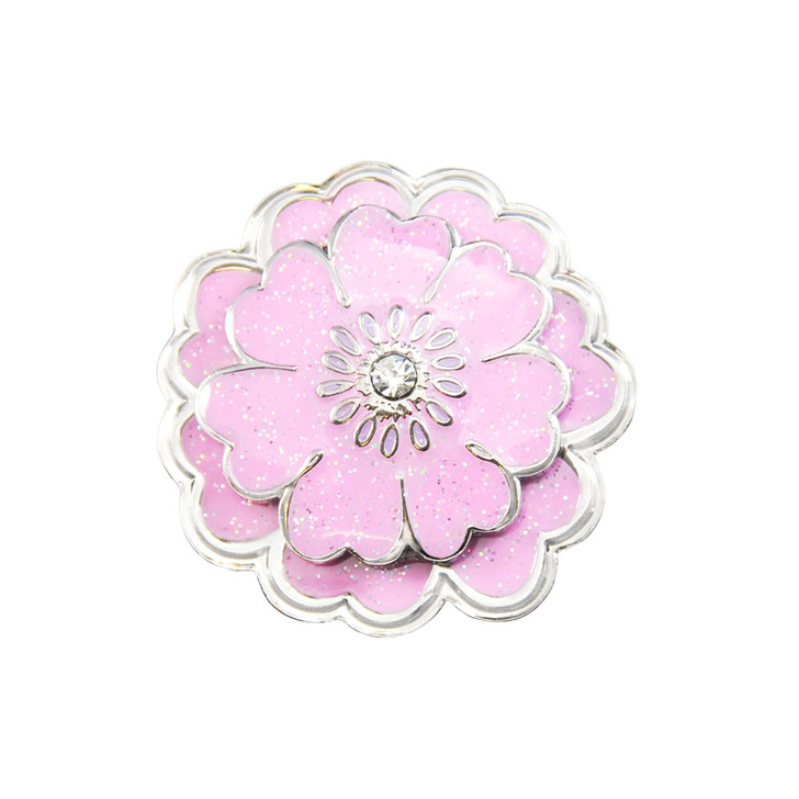 Flower Pink Glitz Ball Marker adorned with Crystal from Swarovski®- with Matching Hat Clip