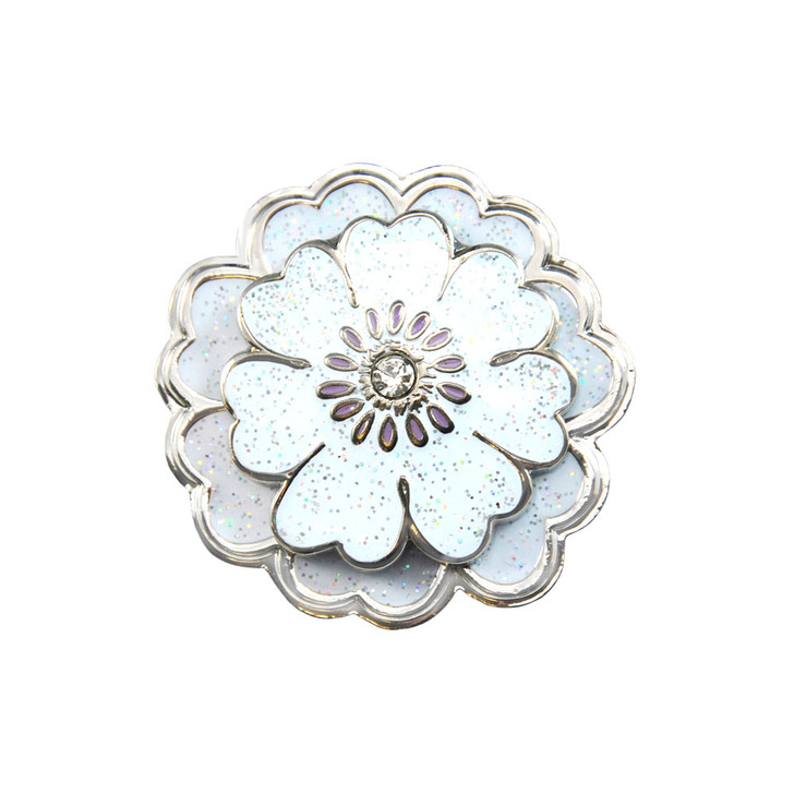 Flower White Glitz Ball Marker adorned with Crystal from Swarovski®- with Matching Hat Clip