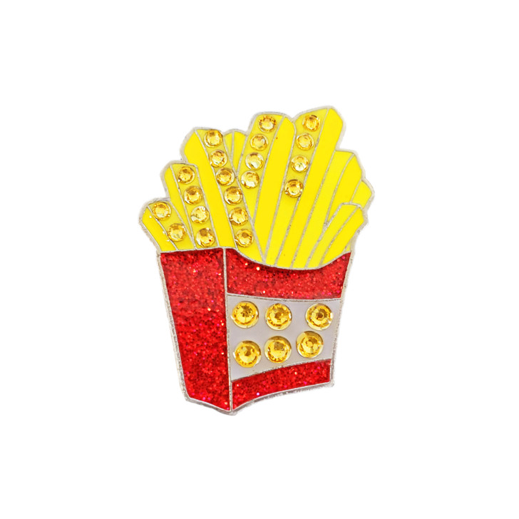 French Fries Ball Marker adorned with Crystals from Swarovski®- with Hat Clip