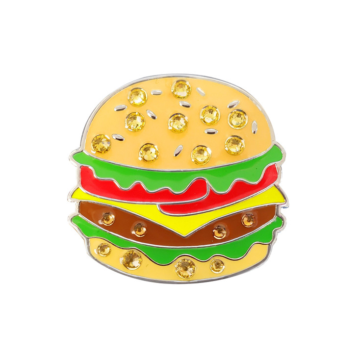 Hamburger Ball Marker adorned with Crystals from Swarovski®- with Hat Clip