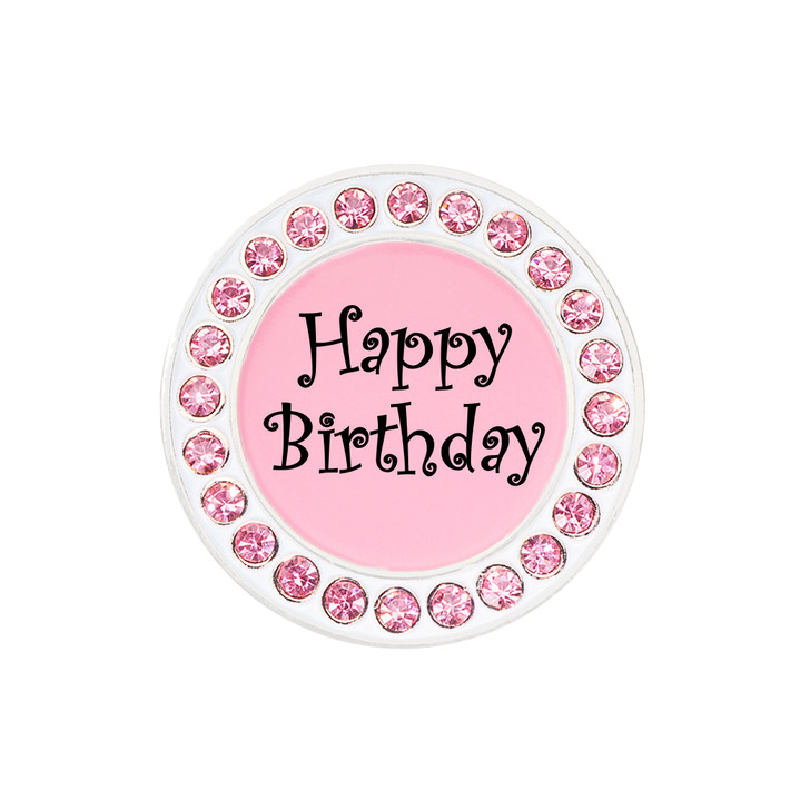 Happy Birthday Ball Marker adorned with Crystals from Swarovski®- with Hat Clip