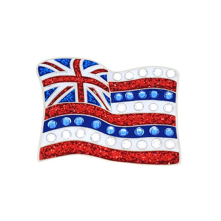 Hawaiian Flag Glitz Ball Marker adorned with Crystals from Swarovski®- with Hat Clip