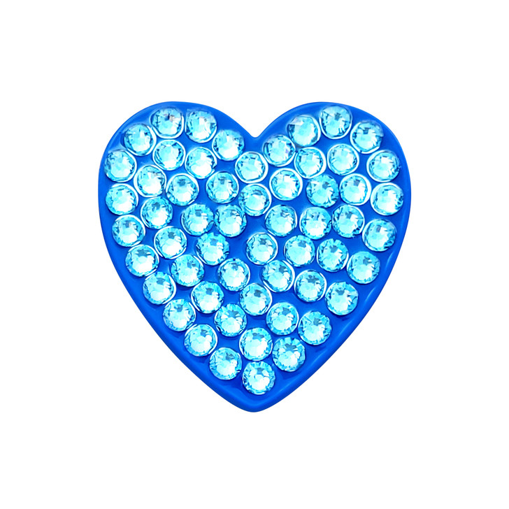Heart Blue Ball Marker adorned with Crystals from Swarovski®- with Hat Clip