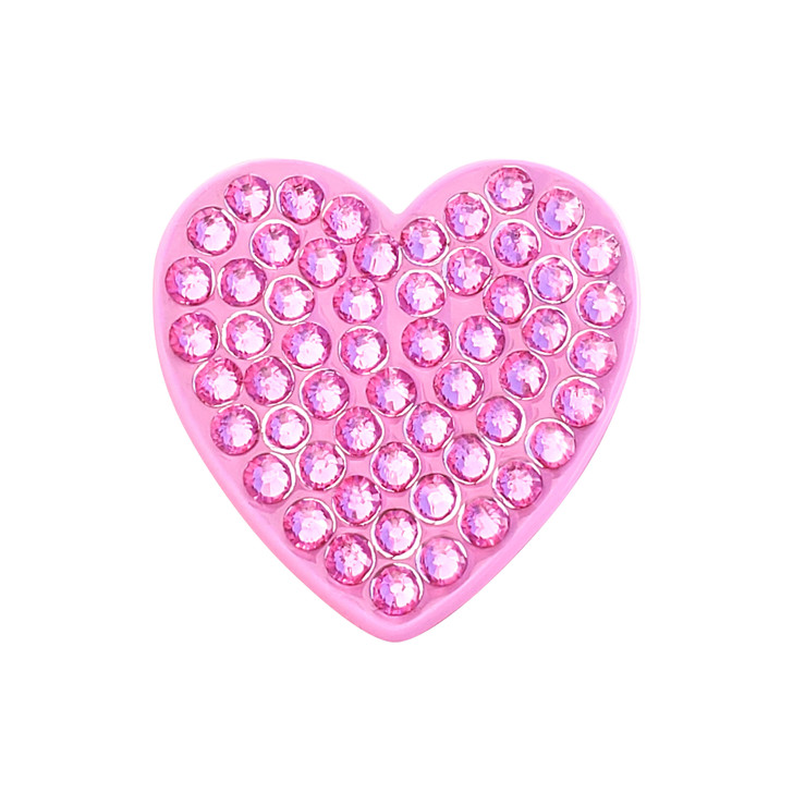 Heart Pink Ball Marker adorned with Crystals from Swarovski®- with Hat Clip
