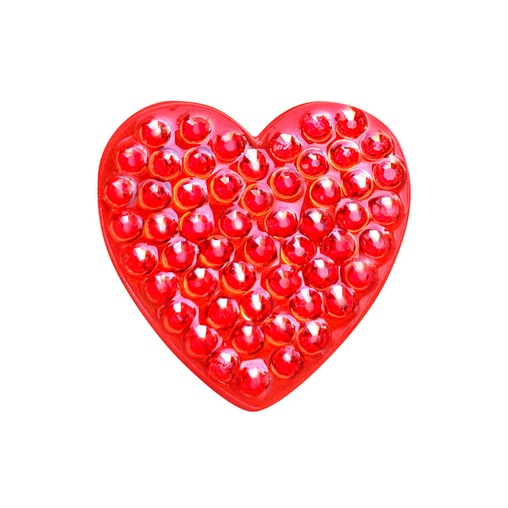 Heart Red Ball Marker adorned with Crystals from Swarovski®- with Hat Clip