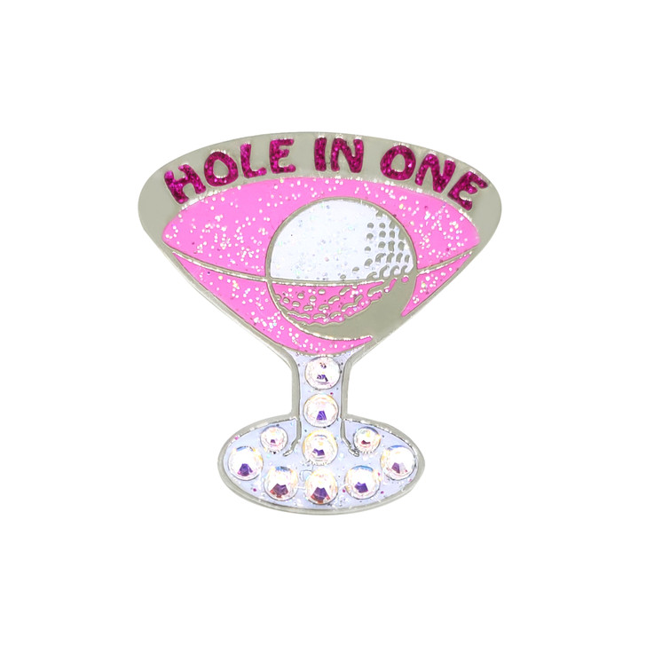 """Pink Cosmo """"Hole In One"""" Ball Marker adorned with Crystals from Swarovski®- with Hat Clip"""