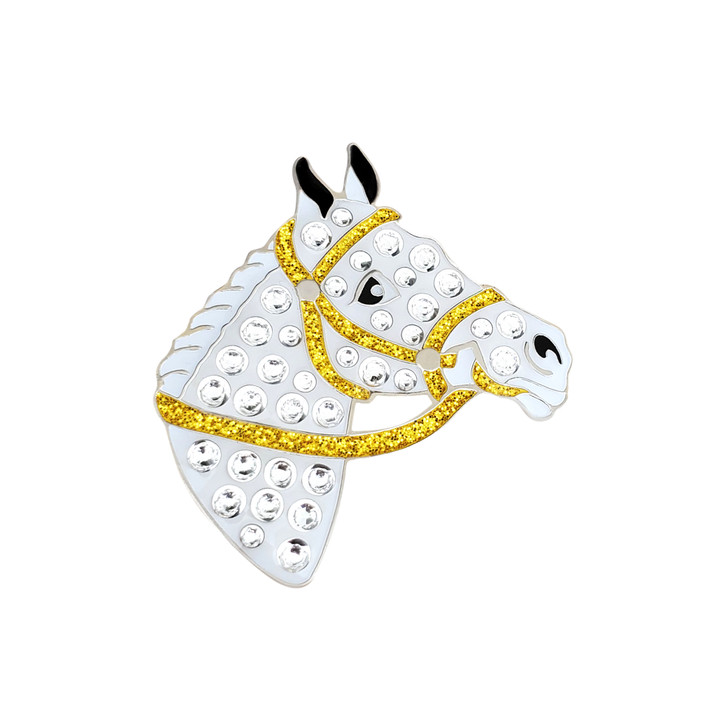 White Horse Ball Marker adorned with Crystals from Swarovski®- with Hat Clip