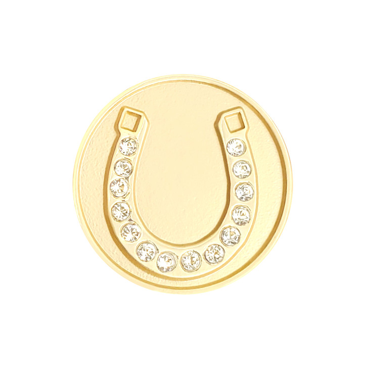 Horseshoe Gold Ball Marker adorned with Crystals from Swarovski®- with Hat Clip