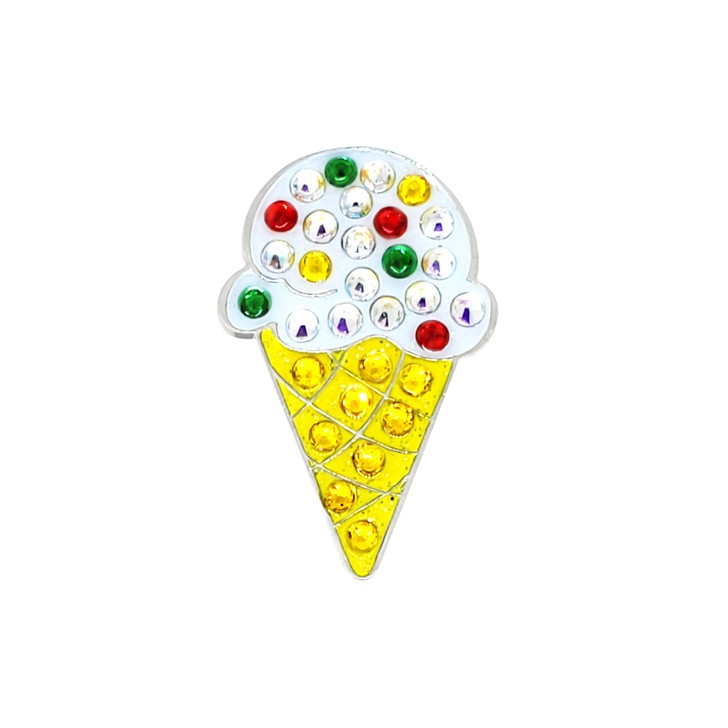 Ice Cream Cone Ball Marker adorned with Crystals from Swarovski®- with Hat Clip