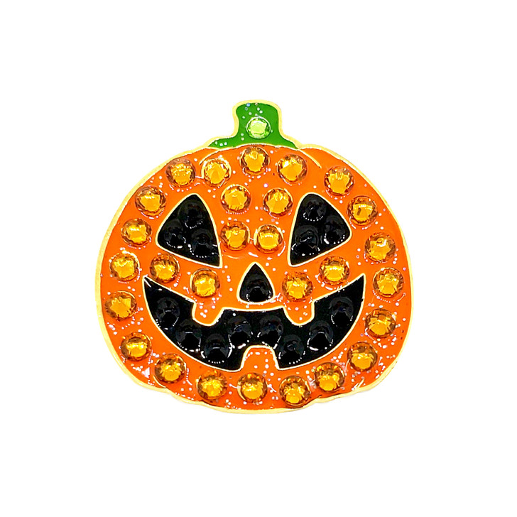Halloween Jack O'Lantern Pumpkin Ball Marker adorned with Crystals from Swarovski®- with Hat Clip
