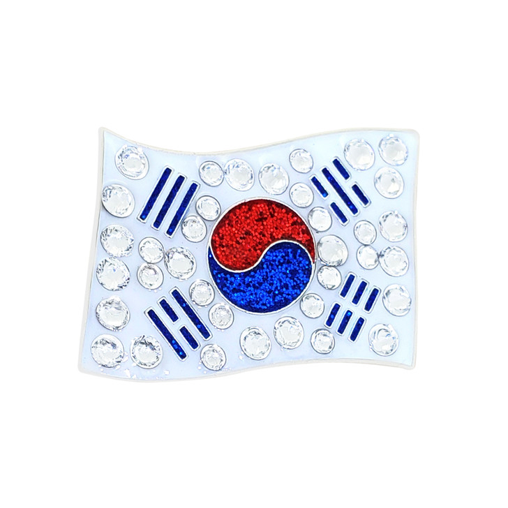 Korean Flag Ball Marker adorned with Crystals from Swarovski®- with Hat Clip