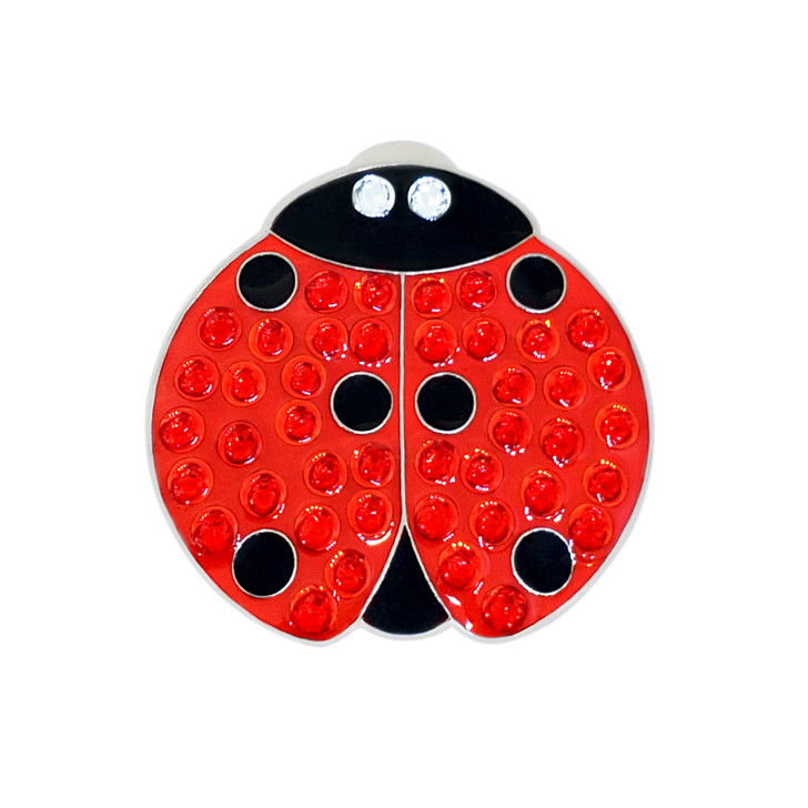 Lady Luck (Ladybug) Ball Marker adorned with Crystals from Swarovski®- with Hat Clip