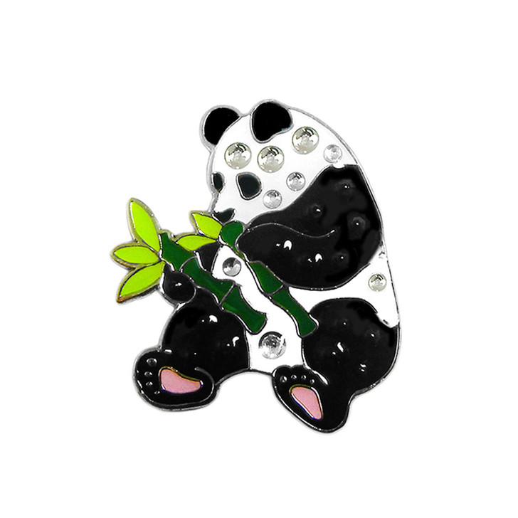 Panda Ball Marker adorned with Crystals from Swarovski®- with Hat Clip