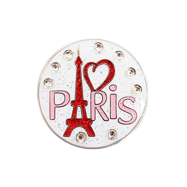 I Love Paris Ball Marker adorned with Crystals from Swarovski®- with Hat Clip