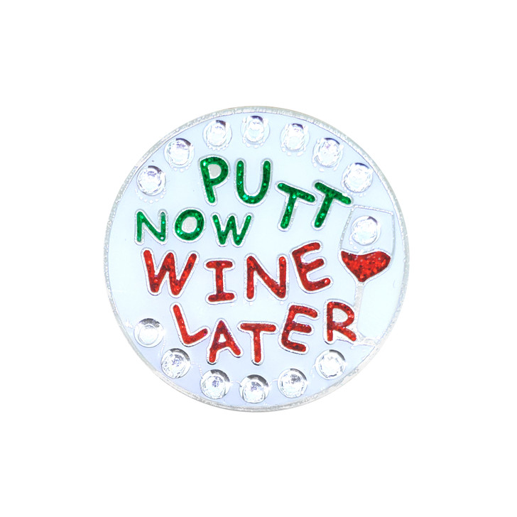 Putt Now Wine Later Ball Marker adorned with Crystals from Swarovski®- with Hat Clip