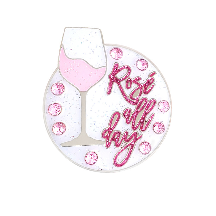 Rosé All Day Ball Marker adorned with Crystals from Swarovski®- with Hat Clip