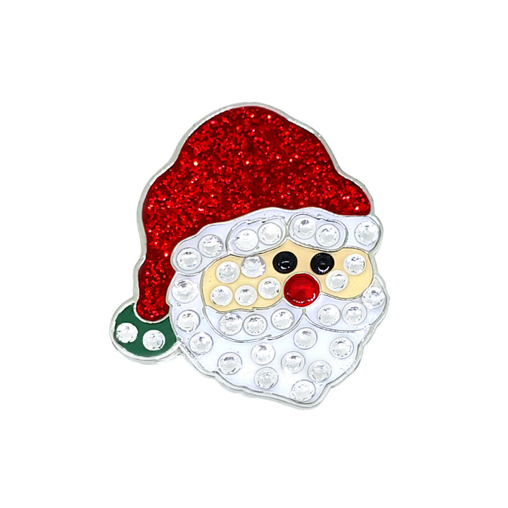Christmas themed Santa Claus Ball Marker adorned with Crystals from Swarovski®- with Hat Clip