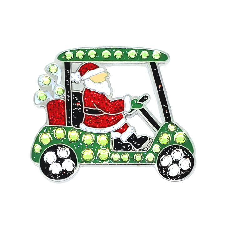 Christmas themed Santa's Cart Ball Marker adorned with Crystals from Swarovski®- with Hat Clip