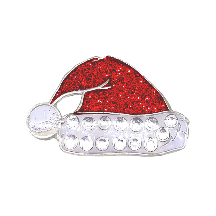 Christmas themed Santa's Hat Ball Marker adorned with Crystals from Swarovski®- with Hat Clip