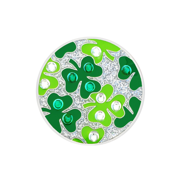 Shamrock Ball Marker adorned with Crystals from Swarovski®- with Hat Clip