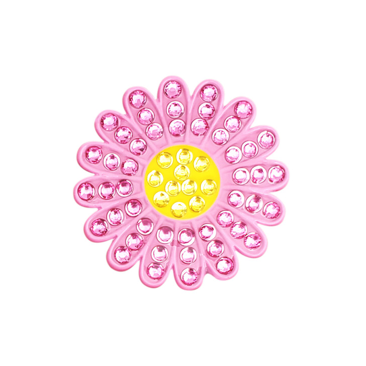 Sunflower Pink Ball Marker adorned with Crystals from Swarovski®- with Hat Clip